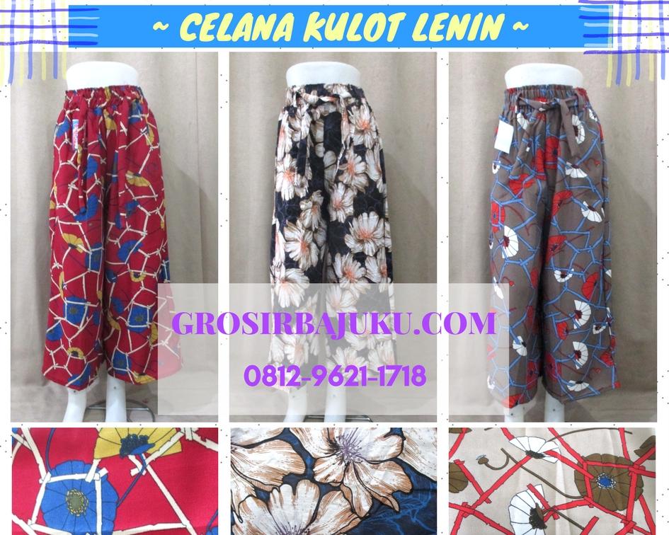 Pusat Grosir Baju Murah Solo Klewer 2019 Distributor Celana Kulot Lenin Wanita Dewasa Murah 45Ribuan