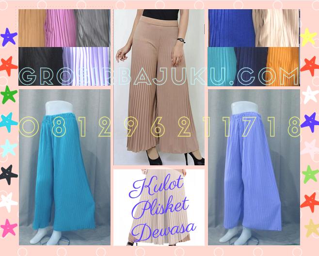 Pusat Grosir Baju Murah Solo Klewer 2019 Supplier Celana Kulot Plisket Wanita Dewasa Murah 35Ribu