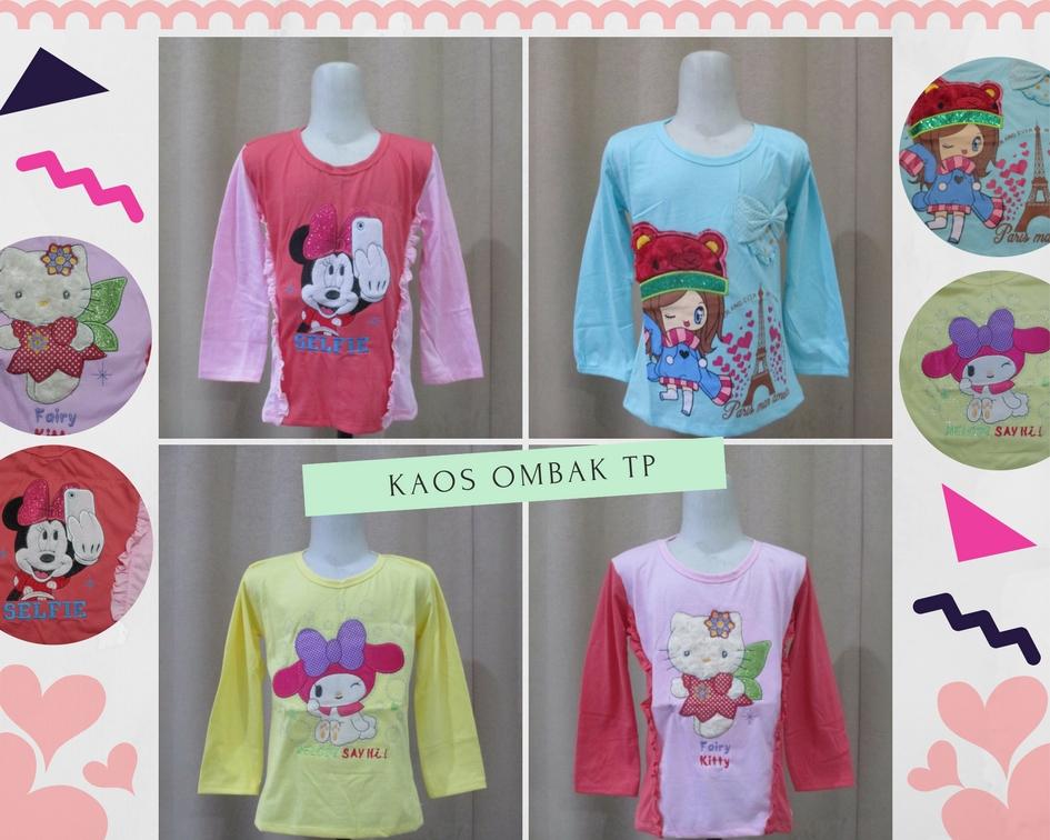 Pusat Grosir Baju Murah Solo Klewer 2018 Distributor Kaos Ombak Lengan Panjang Anak Perempuan Murah Rp.18.500